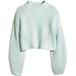 H&M light blue high neck cable knit cropped jumper